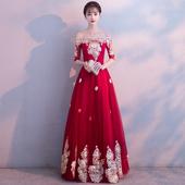敬酒服新娘2019春夏款 平时可穿一字肩红色孕妇结婚晚礼服裙女 长款