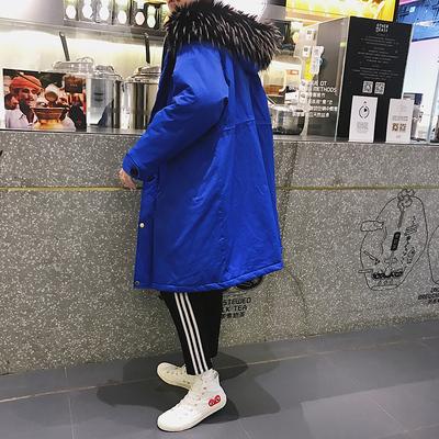 2018年冬季新款纯色大毛领加厚棉服男士韩版潮流棉衣男中长款外套