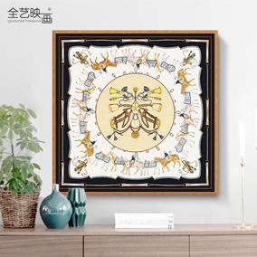 爱马丝巾图案装饰画 简约装裱 样板房挂画 多联套画 现代美式