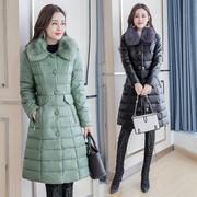 韩版中长款羽绒棉服修身毛领棉衣女士棉袄外套大衣秋冬装2018新款