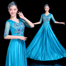 Grand Choir Performance Dresses Adult Middle-aged and Old People Singing Red Song Dresses New Modern Stage Elegant Long Skirt Dresses