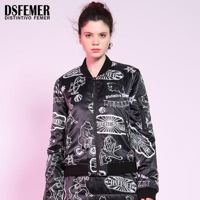 Ds·femer/蒂斯弗2017秋冬款个性欧美手绘印花时尚棉衣外套女潮牌