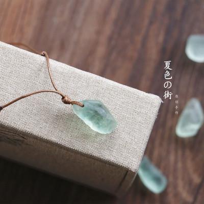 夏色原创手作简约天然绿萤石锁骨链闺蜜男女情侣礼物配饰石头项链