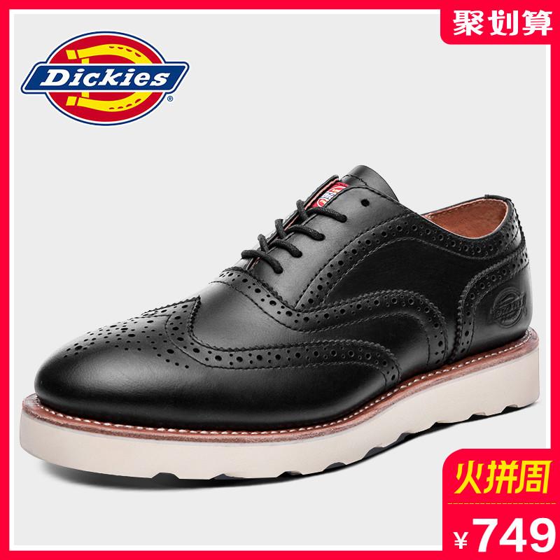 Dickies男鞋秋季新款布洛克雕花皮鞋男士真皮欧美潮流低帮休闲鞋
