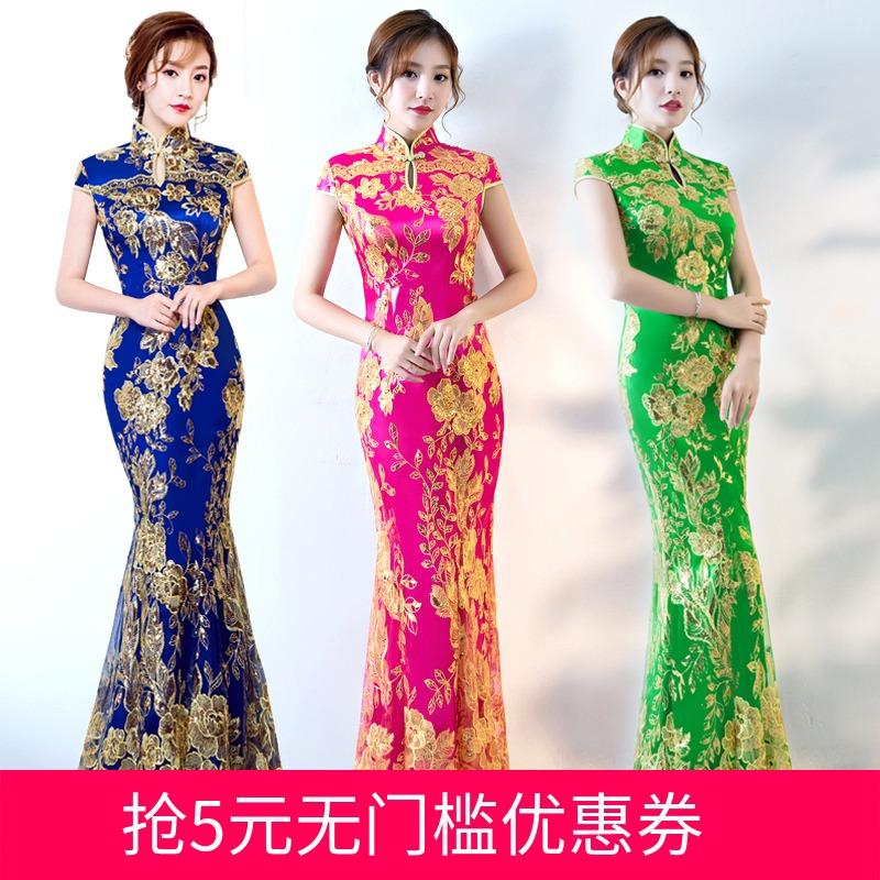 中式旗袍鱼尾礼服
