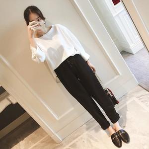 哺乳衣秋季外出套装时尚辣妈款2018新款哈伦裤两件套产后喂奶衣服