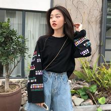 2019日系原宿风春装新款韩范chic宽松显瘦袖子印花长袖T恤女上衣