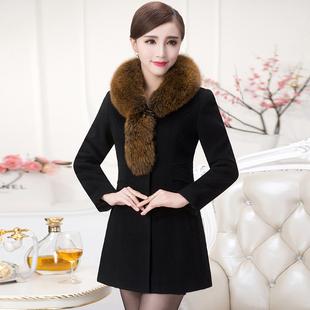 羊绒大衣女中长款2017新款狐狸毛领修身收腰显瘦加厚毛呢外套851