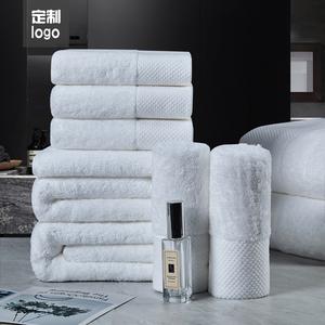五星级酒店白色浴巾宾馆纯棉加厚柔软吸水家用全棉大毛巾定制LOGO