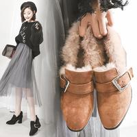 2017秋冬新款韩版方扣粗跟单鞋加绒毛毛鞋女圆头乐福鞋黑色高跟鞋