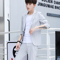 Men's Summer Thin Casual Suit Set Korean Youth Handsome Slim Trends Sleeve Small Suit Three-piece Set
