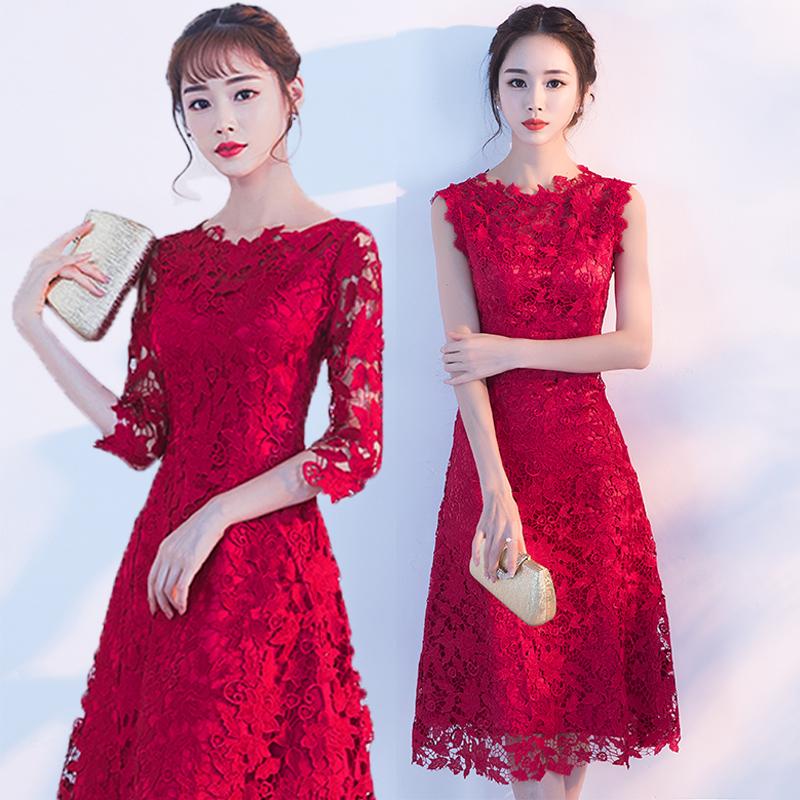 中长款酒红色礼服