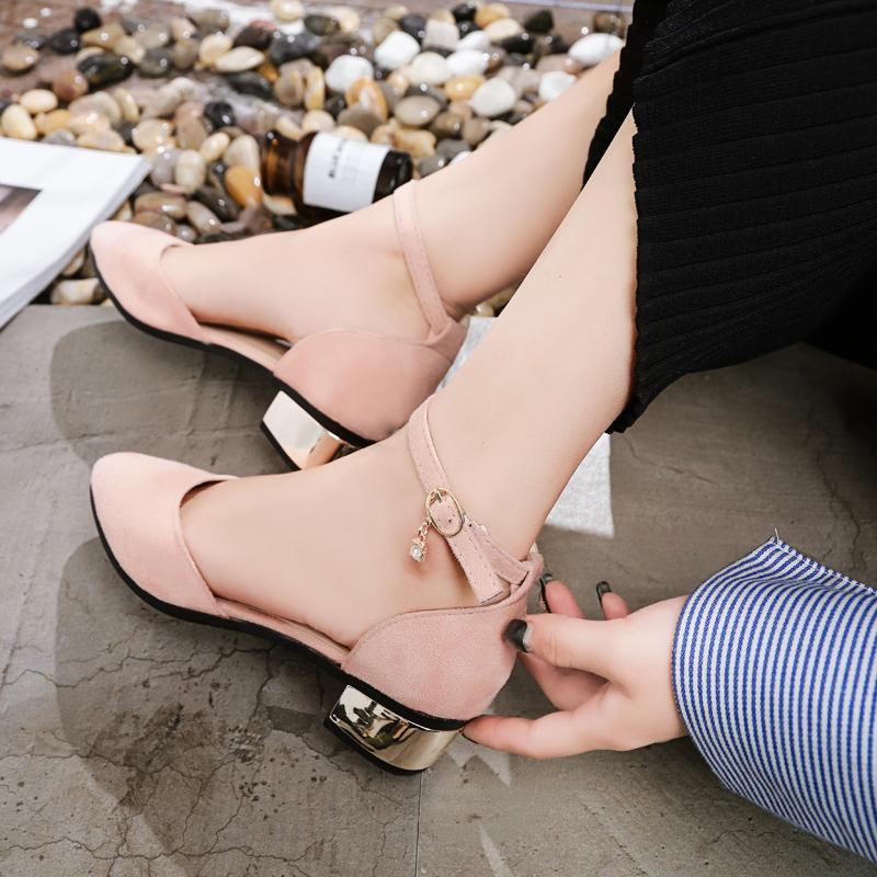 2019夏季新款韩版包头中跟凉鞋女鞋学生罗马一字扣带粗跟百搭单鞋