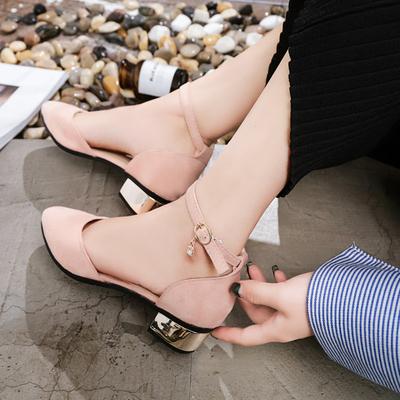 2018夏季新款韩版包头中跟凉鞋女鞋学生罗马一字扣带粗跟百搭单鞋
