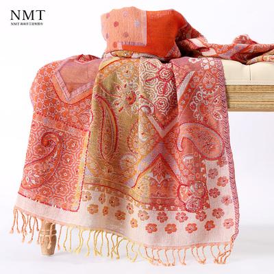 印度民族风水煮羊毛围巾手工钉珠波点橘红春秋新品空调保暖披肩女