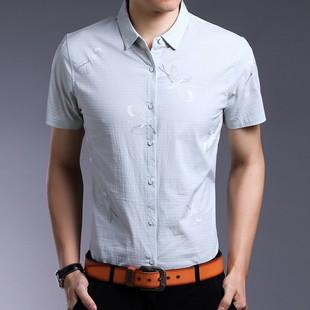 佰特步落厂价直销夏季新款男式短袖衬衫透气速干棉质印花商务工装
