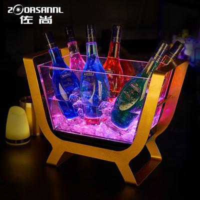 佐尚创意酒吧发光冰桶led充电透明亚克力不锈钢红酒架6支装香槟船