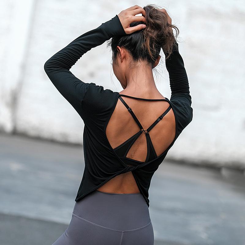 La Nikar 网红健身服女长袖运动上衣跑步速干T恤露背宽松瑜伽服女