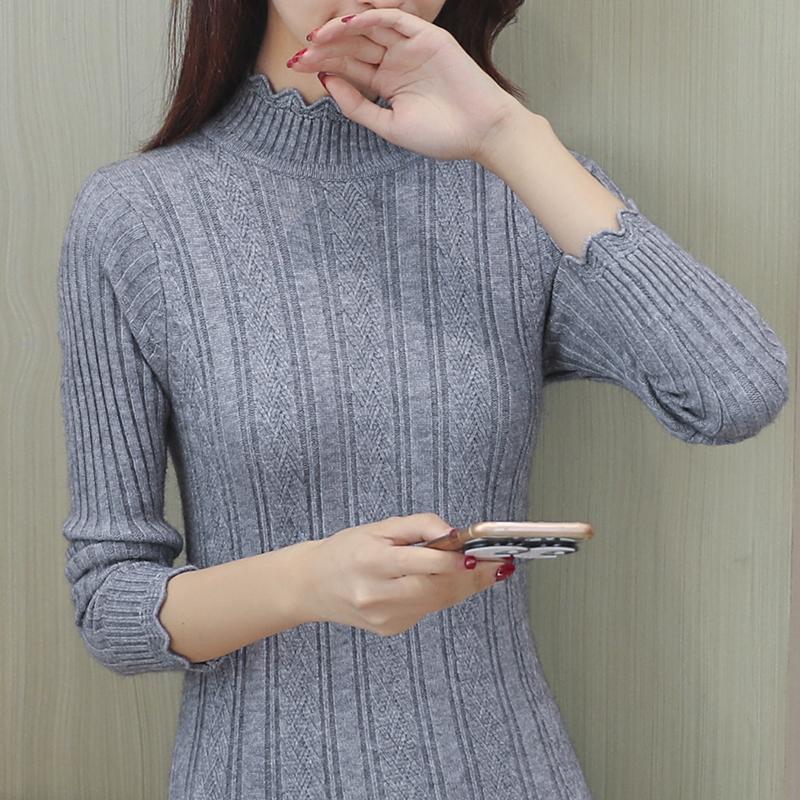 灰色长款花边毛衣