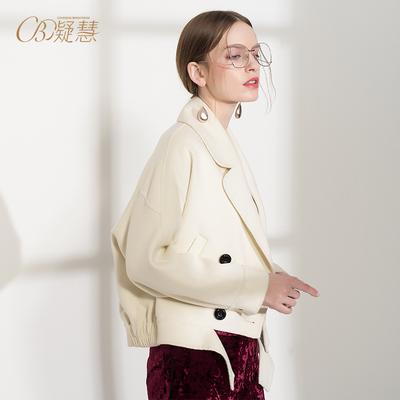 2018秋新款双面绒呢子机车服外套女短款欧美白色羊绒毛呢宽松大衣