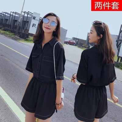 伊索歌雪纺两件套女装连衣裙短裤百搭时尚前口袋短袖衬衫打底小衫