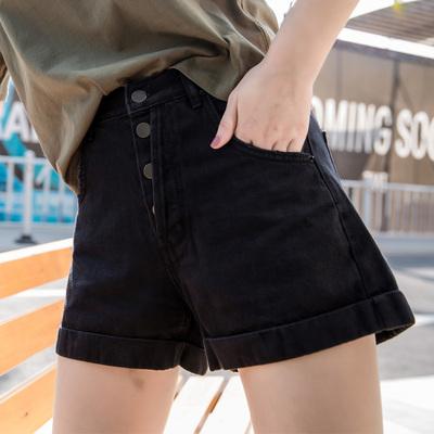 2018高腰牛仔短裤女多扣翻边学生时尚阔腿修身显瘦黑色夏热裤女