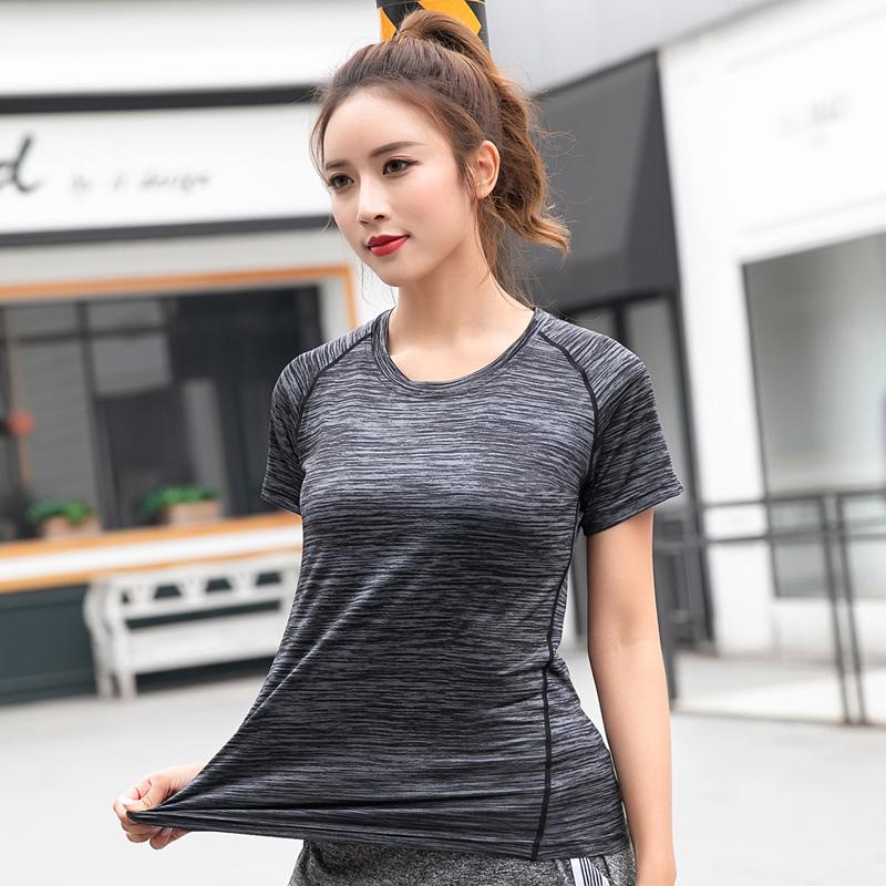 户外夏季速干t恤女运动跑步薄款透气大码登山速干衣短袖健身上衣