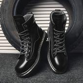 工装 靴子单鞋 马丁靴男潮流英伦男鞋 春季新款 沙漠短靴透气中高帮鞋图片