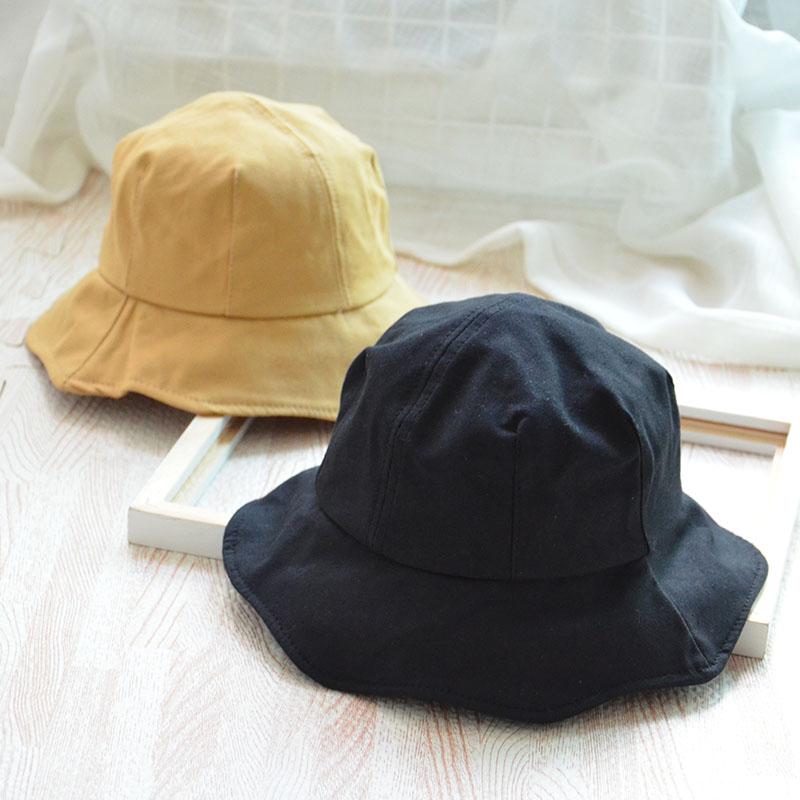 91d8c71dfe9 儿童帽子男女童亲子渔夫帽潮秋冬季大檐1-2-5岁3婴儿宝宝纯色盆帽