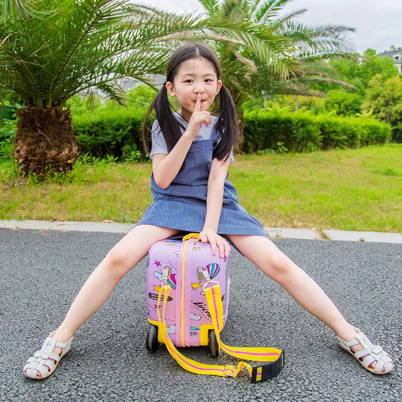 JUSTREAL儿童旅行箱16寸可骑可坐宝宝卡通飞机骑行玩具收纳行李箱