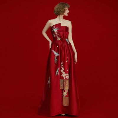 敬酒服新娘长款2018新款秋季中国风结婚红色回门年会宴会晚礼服女