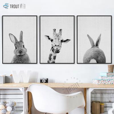 鳟鱼北欧装饰画客厅 动物黑白挂画 现代简约饭厅画北欧风卧室壁画打折促销
