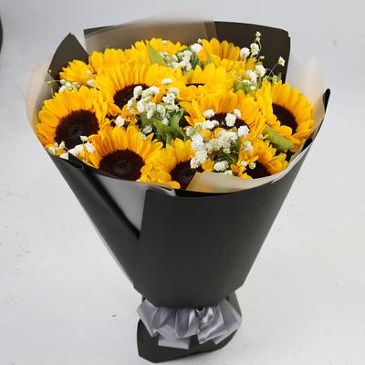 父亲节同城鲜花店送爸爸向日葵花束礼盒上门牡丹江爱民东安阳明区
