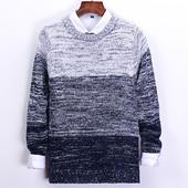 男装 黑色针织打底衫 圆领毛衣男韩版 修身 纯色加厚线衫 冬季男士