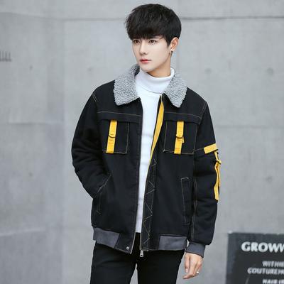 冬季加绒加厚牛仔夹克男韩版潮流学生帅气bf风羊羔毛宽松棉衣外套