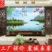 陶瓷砖电视背景墙中式现代简约清新3D立体艺术风景壁画荷花山水情