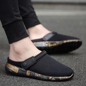 懒人休闲一脚蹬老北京布鞋 韩版 潮鞋 潮流学生透气帆布鞋 夏季男鞋
