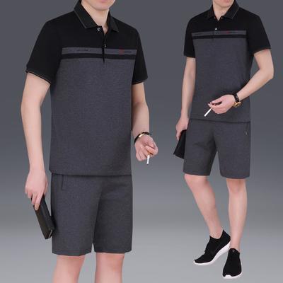 夏款中老年40-65岁男士棉翻领短袖短裤宽松加大码跑步运动服套装