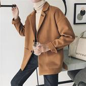 春季新款日系毛呢短款大衣韩版帅气时尚休闲百搭男生夹克外套潮流