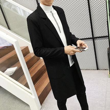春季男装韩版青年修身薄款外套男士黑色披风大衣男生中长款风衣