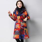 酷伽冬季新品民族风印花连帽中长款棉服外套28YT