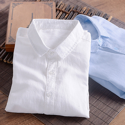 秋季男士棉麻长袖衬衫纯色宽松薄款青年休闲亚麻布白色衬衣打底衫