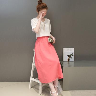 2018春夏装新款少女大码女装时尚中学生套装裙两件套棉麻连衣裙女