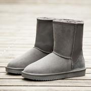 雪地靴男中筒冬季保暖加绒情侣棉靴棉鞋英伦防滑防水防滑面包男鞋