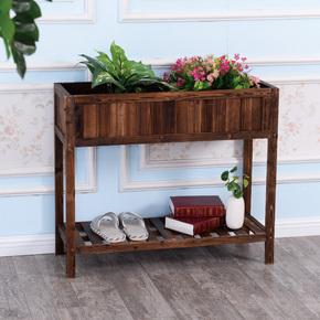 防腐新款拼接做旧碳化木质长方形花盆花槽两层展示阳台花架装饰架