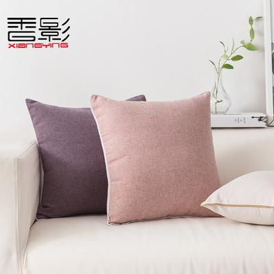 纯色抱枕套靠垫沙发糖果色彩北欧办公室腰靠汽车靠枕客厅简约棉麻