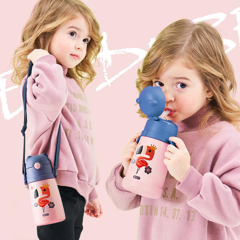 韩国杯具熊儿童保温杯带吸管手柄两用宝宝学饮幼儿园防摔水壶水杯图片