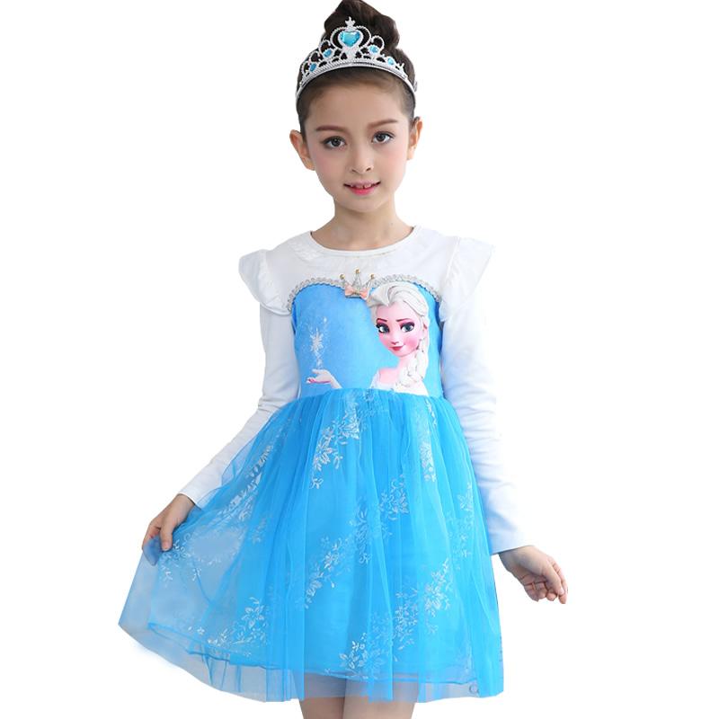 六一儿童迪士尼冰雪奇缘衣服女童爱莎公主裙儿童长袖连衣裙演出服