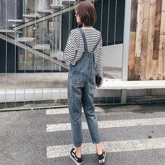女背带阔腿裤