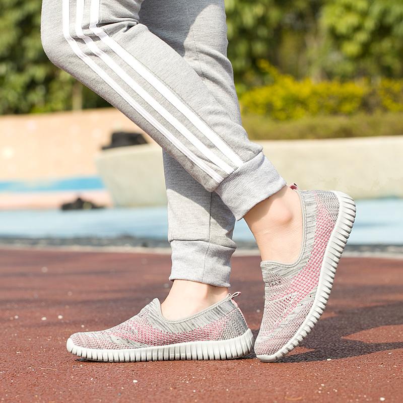 春夏妈妈鞋透气女鞋中老年人男女轻便软底健步鞋一脚蹬运动休闲鞋